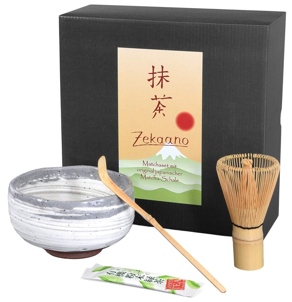 zekaano Matcha–Original Bol à matcha Chawan 450ml japonais avec matchabesen Chasen et cuillère en bambou Chas Haku, traditionnel Ø 12,6cm, blanc/gris, fait à la main Original Aricola®