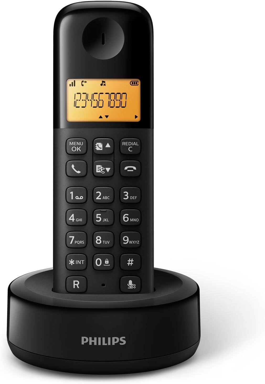 Philips D1301B - Teléfono inalámbrico con pantalla iluminada de 4.1 cm, 10hrs conversación, Negro, 1 Pieza