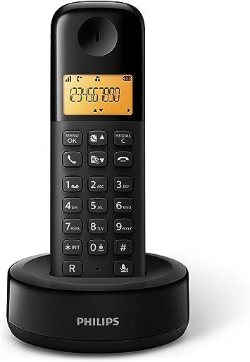 Philips D1301B - Teléfono inalámbrico con pantalla iluminada de 4.1 cm, 10hrs conversación, Negro, 1 Pieza: Amazon.es: Electrónica