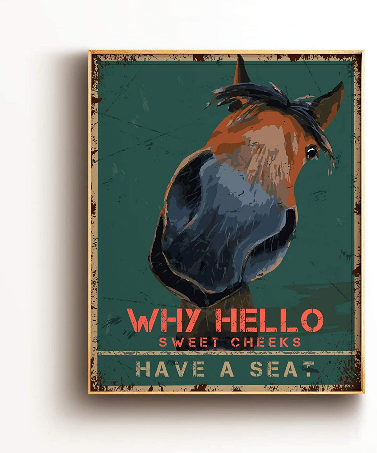 Funny Bathroom Quote Wall Art Print Poster Decor - Vintage Hello Sweet Cheeks Horse Poster for Office/Home/Classroom Decor Gifts - Best Farmhouse Decor Gift Ideas for Women Men Friends - 8x10 Unframed