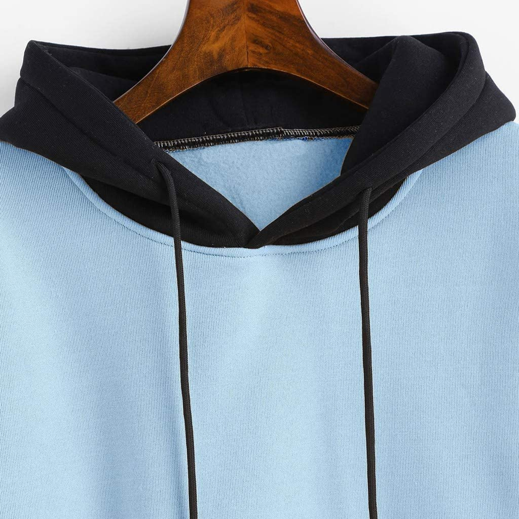 Casual Hoodies Sweatshirt Color Block Long Sleeve Hooded Tops Jumper Pullover with Pockets Blouses for Women