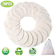 Makeup Remover Pads Reusable 20 Packs-Natural Bamboo Cottons Facial Skin Caring Pads-Face Cleaning Clothes Wipes Machine Washable With Laundry Bag