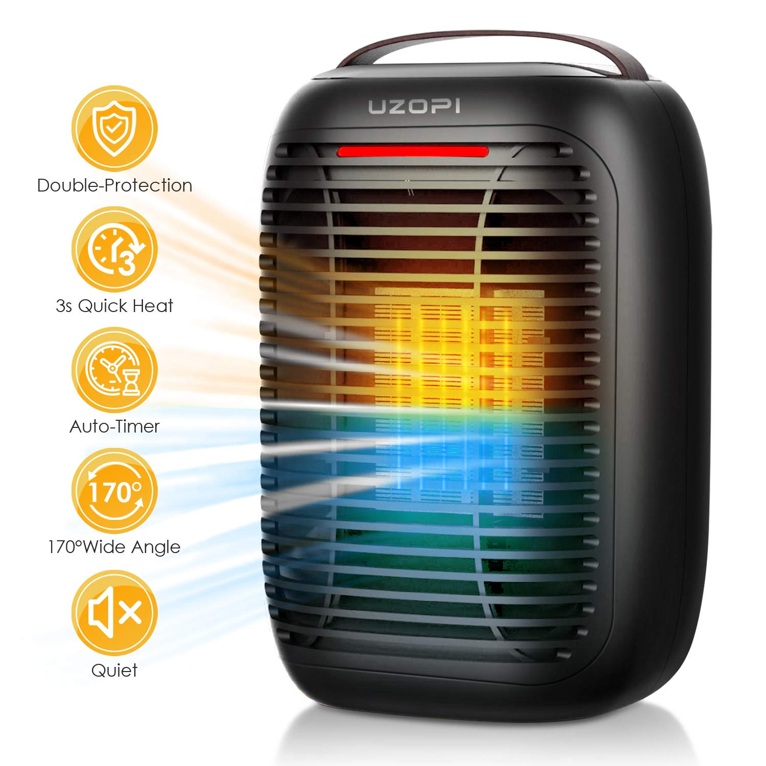 Portable Electric Ceramic Space Heater – UZOPI 950W 700W Electrical Heater Fan with Overheat Protection, Tip-Over Protection, Auto-Timer, 3 Adjustable Modes for Indoor Office Home Bedroom