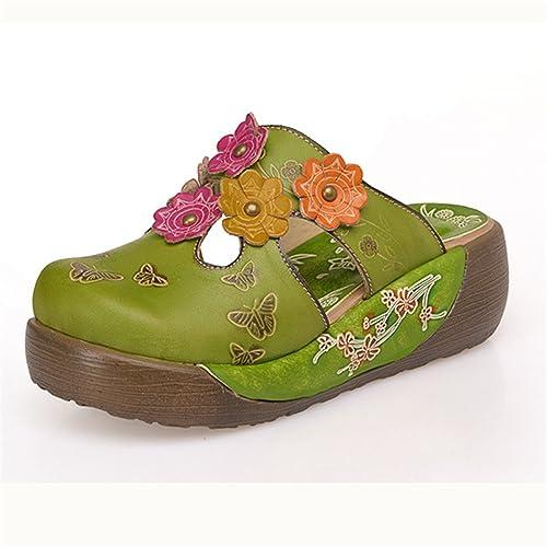 Socofy GRACOSYUKBEATT6376 - Zuecos de Piel para Mujer, Color Verde, Talla 40