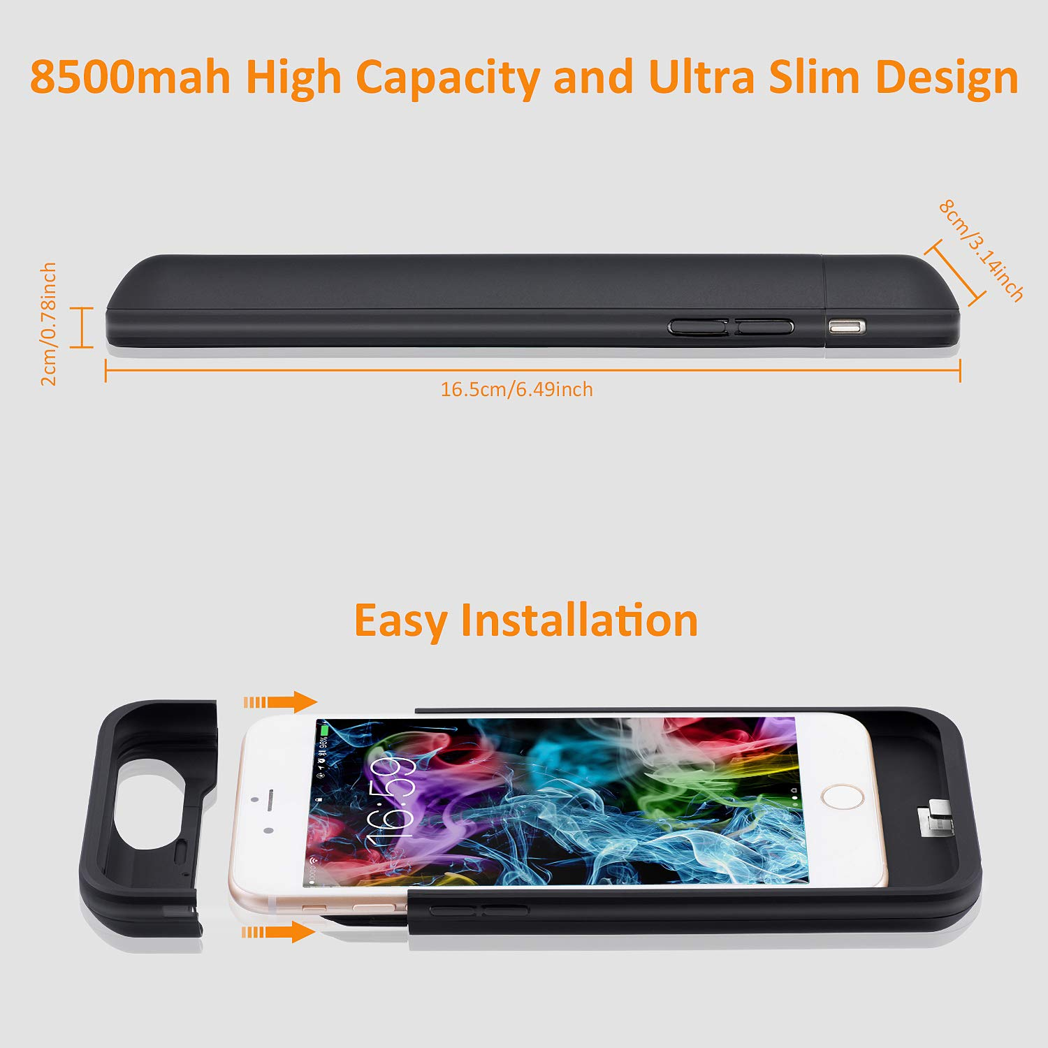 LCLEBM Battery Case for iPhone 6 Plus/ 6s Plus (5.5 inch), 8500mAh High Capacity Extended Battery Charger Case, Portable Protective Charging Case Compatible with iPhone 6 Plus/6s Plus - Black by LCLEBM (Image #5)