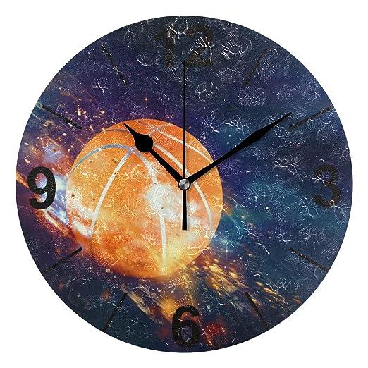 Janhe Reloj de Pared Redondo Misterioso Baloncesto 10 Pulgadas de ...