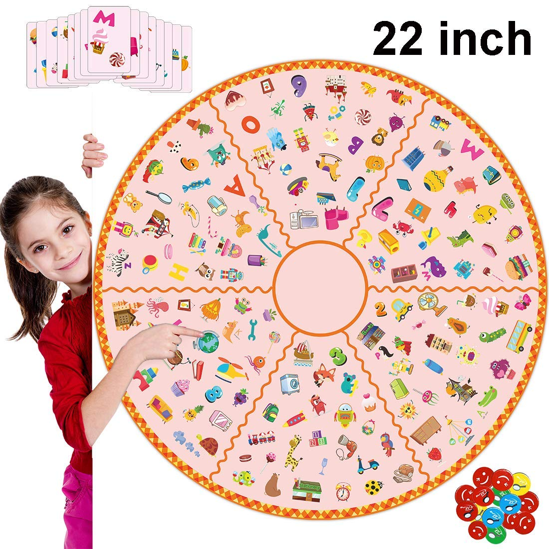 22'' Super Board Match Game, Party Favor Memory Learning Number Letter Picture Table Card Game, Educational Toy for Kids Family Party Kindergarten Class