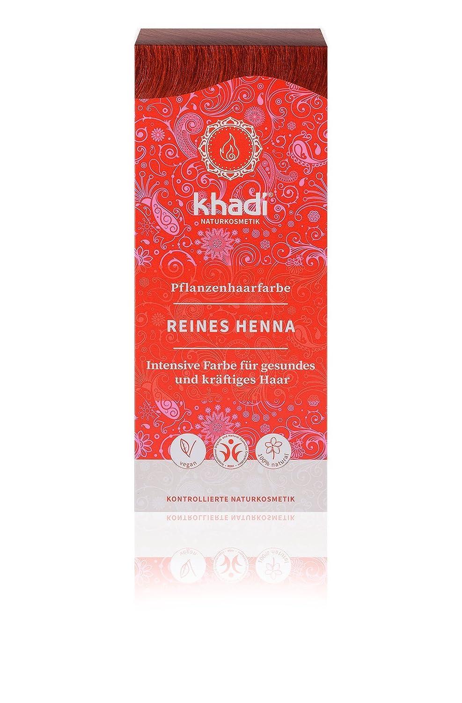khadi Pflanzen-Haarfarbe Reines Henna 100g I Natur-Haarfarbe Orange-Rot Kupfer Dunkel-Rot I vegane Haar-Färbung aus Indien I hohe Grauabdeckung I Naturkosmetik ohne künstliche Zusätze 2485