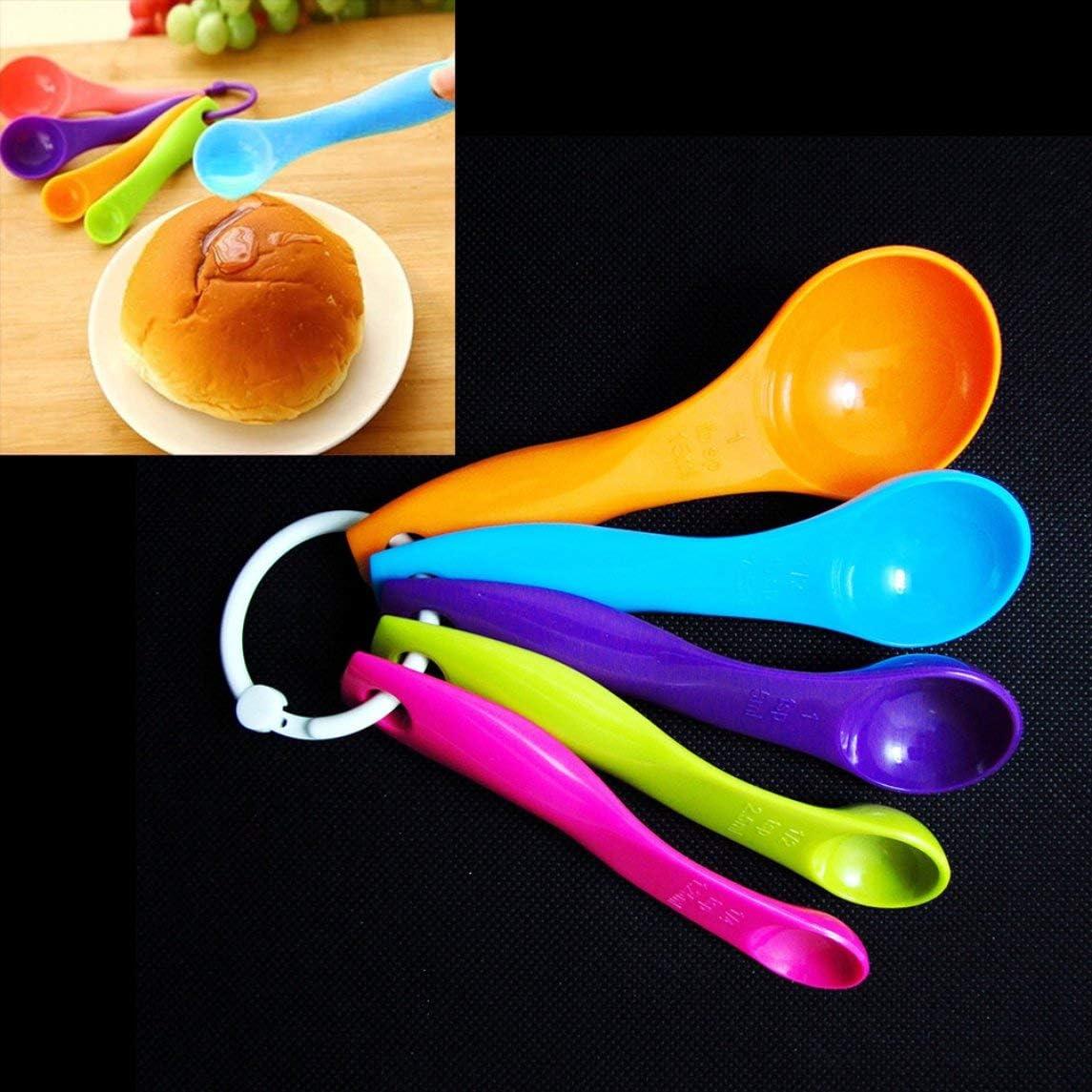 Cucharas medidoras Cucharadita de pl/ástico Az/úcar Pastel Cuchara para hornear Leche en polvo Utensilios de cocina Utensilios de cocina 5 uds