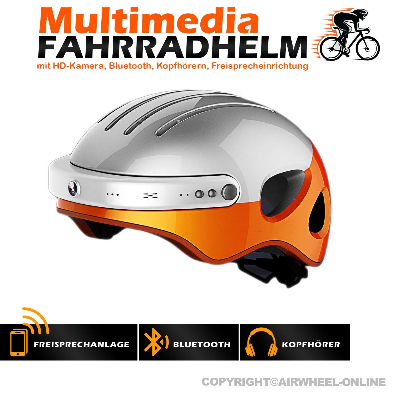Fahrradhelm mit HD-Actionkamera AIRWHEEL C5. Helm mit integrierter Freisprecheinrichtung, HD-Kamera, Blautooth. L Größe (Kopfumfang 53-58cm). Farbe  weiß-Orange. TOP QUALITÄT