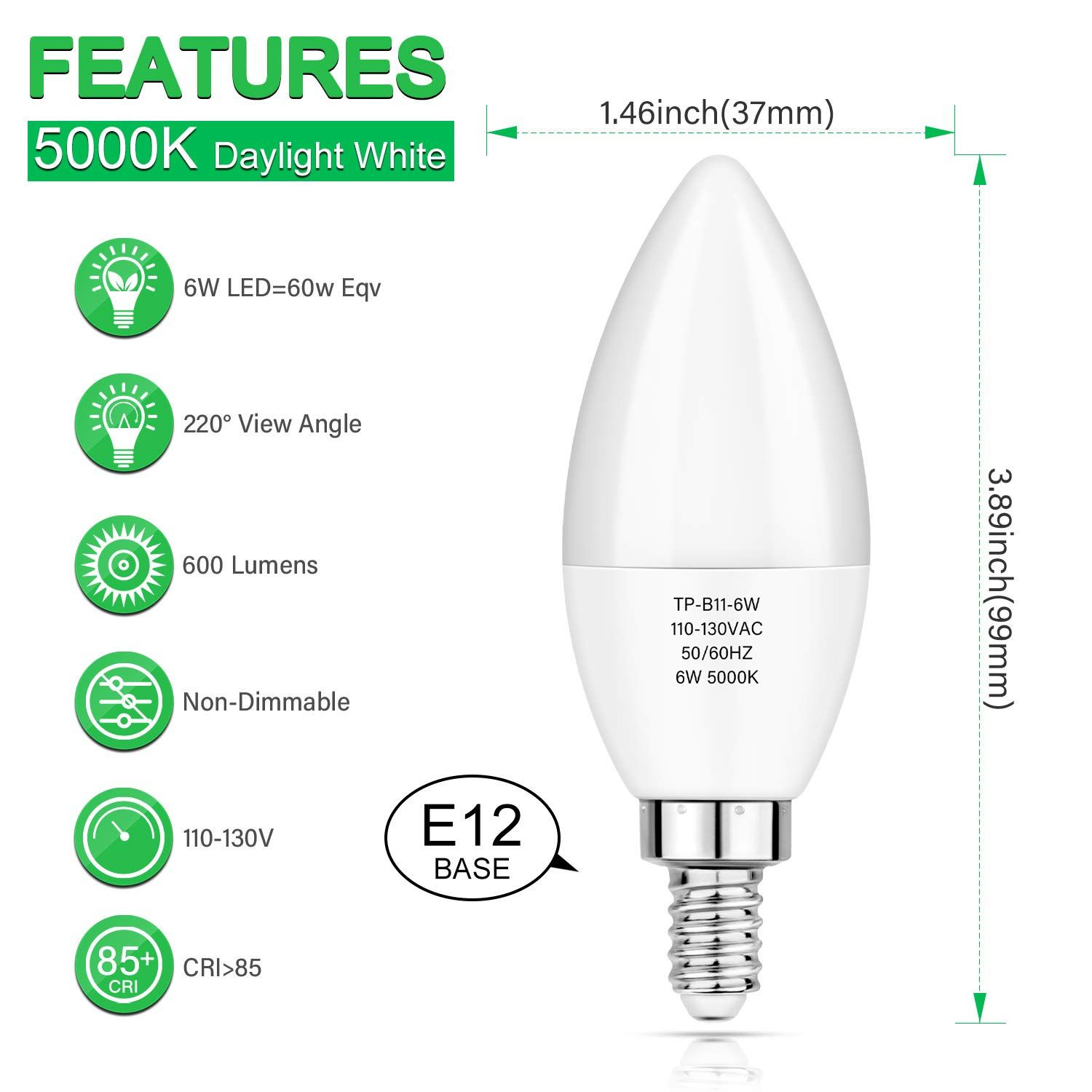Amazon.com: Bombillas LED E12 de candelabro, equivalente a ...
