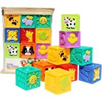 Kingtree Baby Blocks (Set of 9), Squeeze Building Blocks Soft Stacking Baby Toys for 6 Months and up, Colorful Teething…