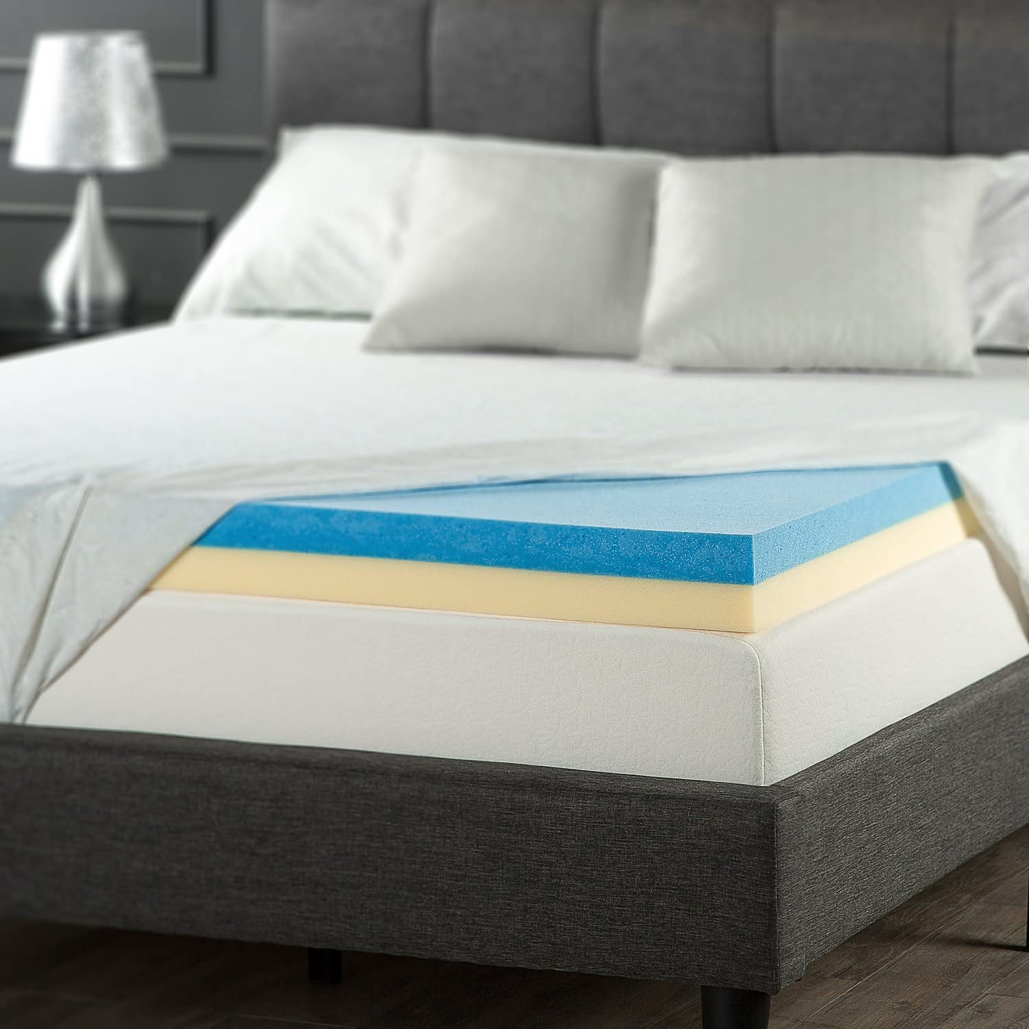Zinus 4 Inch Gel Memory Foam Mattress Topper, Full