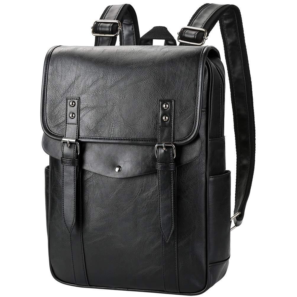 VBG VBIGER PU Leather Backpack Vintage Laptop Backpack School Bookbag