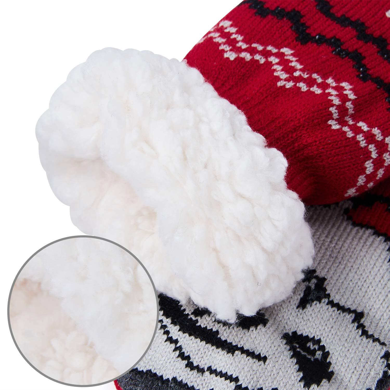 Uideazone Slipper Socks Fleece-Lined Cozy Thick Winter Knee Highs Stockings for Women Girls