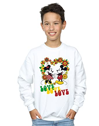 Disney Garçon Mickey and Minnie Mouse Hippie Love Sweat-Shirt  Amazon.fr  Vêtements  et accessoires c1619389eb30