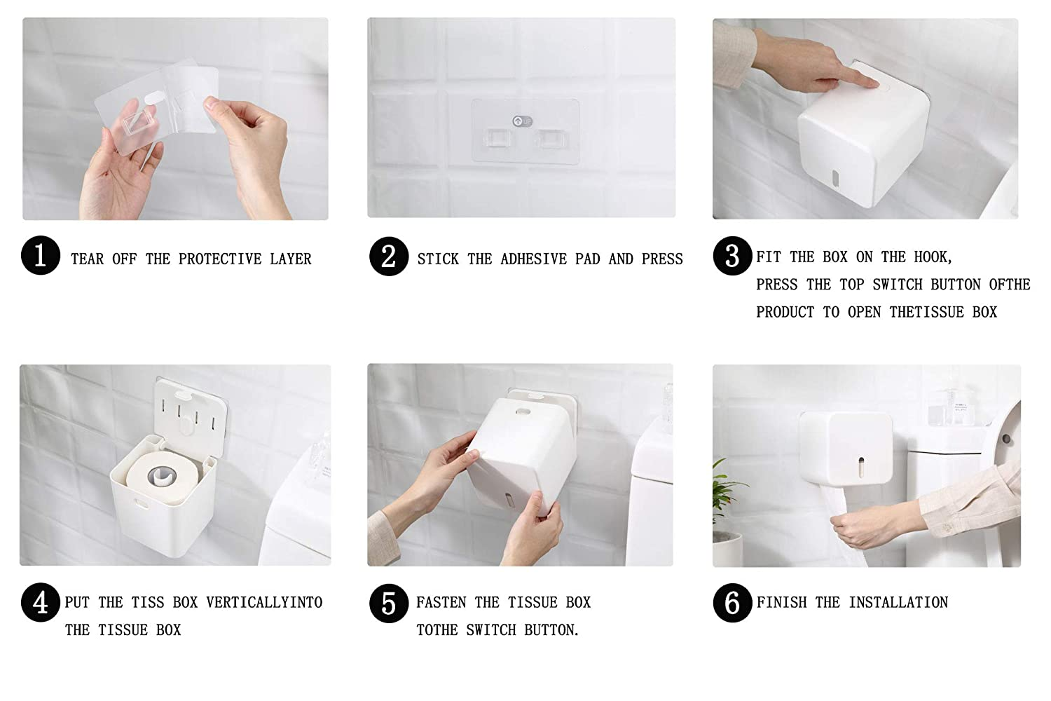 Toilet Paper Roll Holder Plastic Tissue Rolls Stand Dispenser Wall Mounted Self Adhesive Without Drilling Waterproof Dustproof for Bathroom Kitchen White