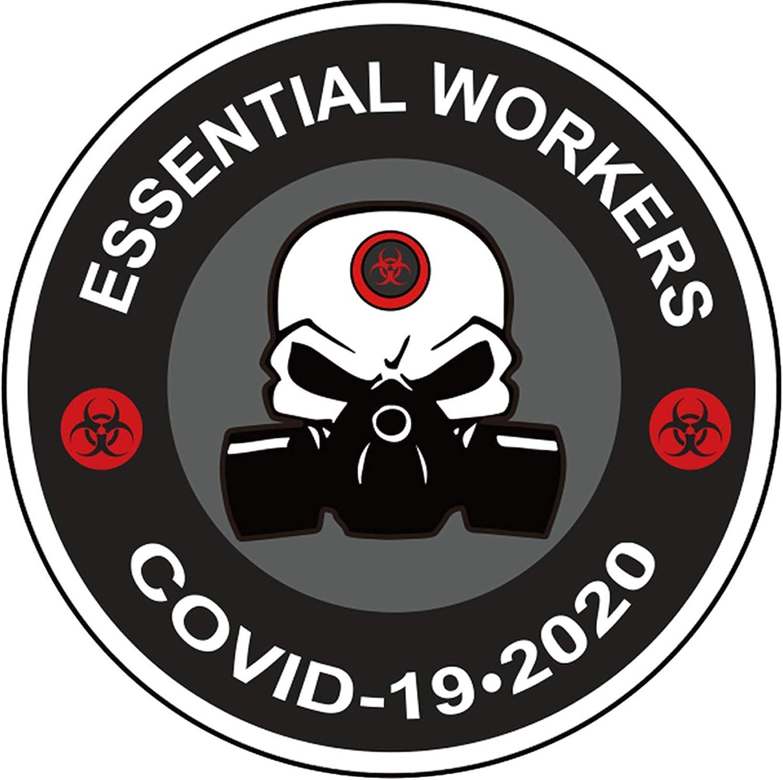 "Essential Workers Hard Hat Stickers - 25Pack 2"" Hazard Crisis Decals - Quarantine Enforcement Social Distancing Helmet Stickers"