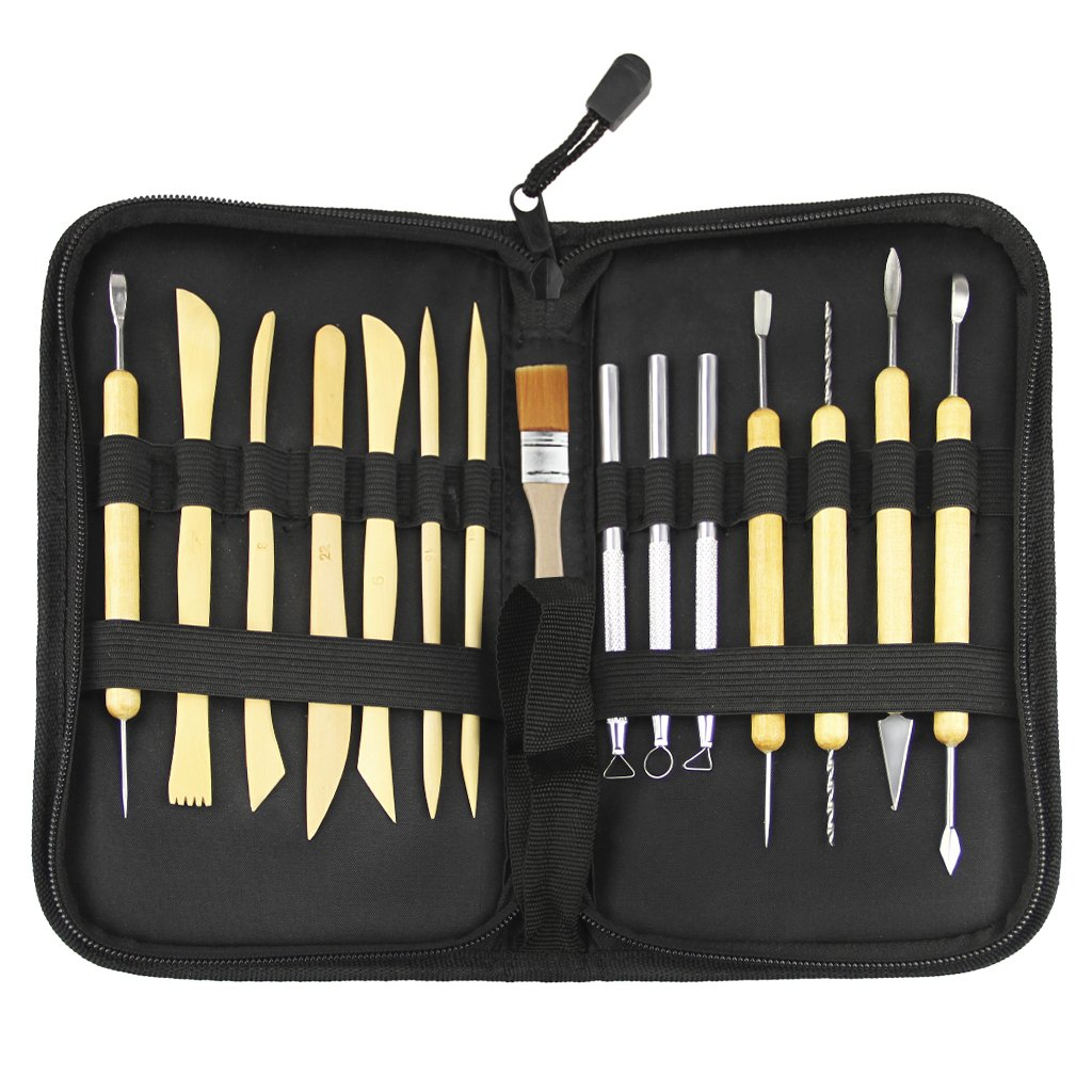 Clobeau Sculpting Tools 15-Piece Pottery Clay Ceramics Art Tools Set Wood Handle for Carving Modeling Cleaning with Zipper Carrying Case by Moonlove (Image #1)