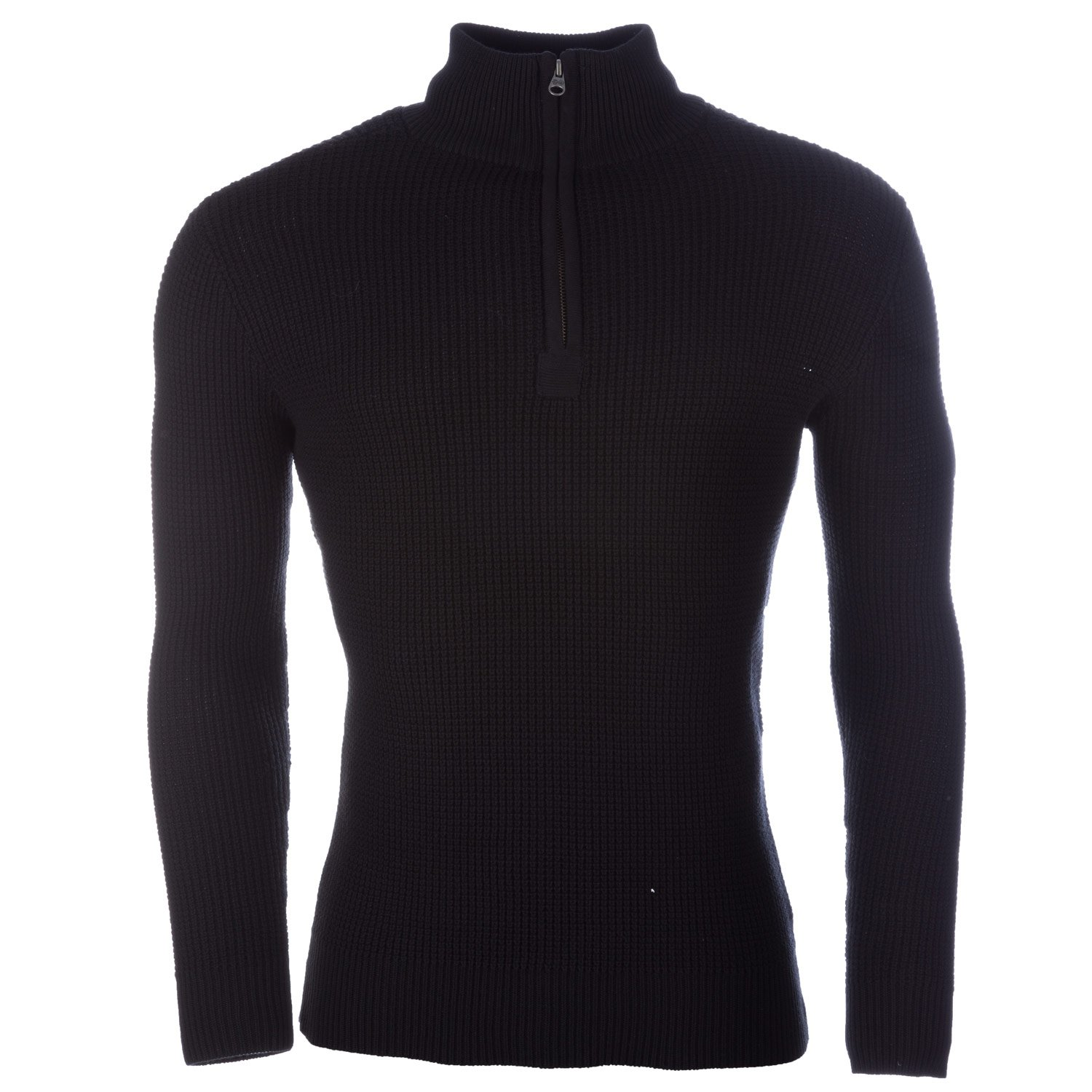 Crosshatch Black Mens Fireguard Zip Neck Jumper