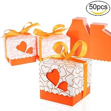 Foonii 50 Cajitas / Caja para Bombones Caramelos Regalo Mariposa Color Rosa Decoracion para Boda Party (naranja): Amazon.es: Oficina y papelería