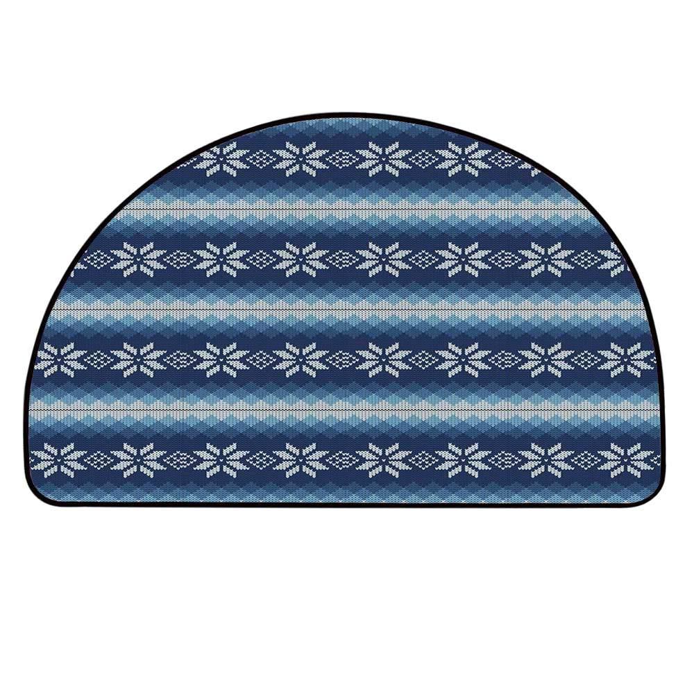 YOLIYANA Winter Doormat,Traditional Scandinavian Needlework Inspired Pattern Jacquard Flakes Knitting Theme Decorative Entryway Mat,31.4'' H x 62.9'' L