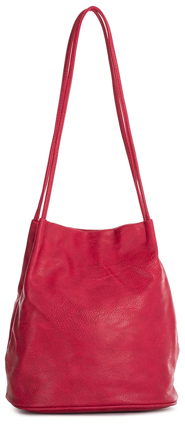 Big Handbag Shop Womans Fashion Designer Medium Size Plain Soft Vegan Leather Hobo Bucket Tote Shoulder Bag - Medium Size