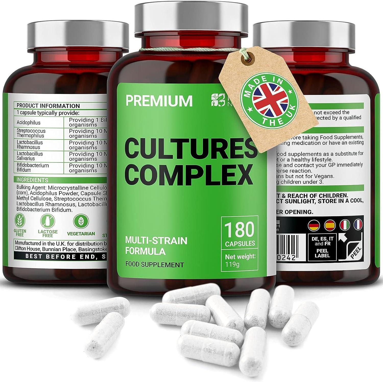 Probióticos Cultures Complex | 180 Comprimidos | Lactobacilos y acidófilos | Vegetariano | No GMO. Sin gluten | 6 meses | Hecho en el Reino Unido por Mayfair Nutrition