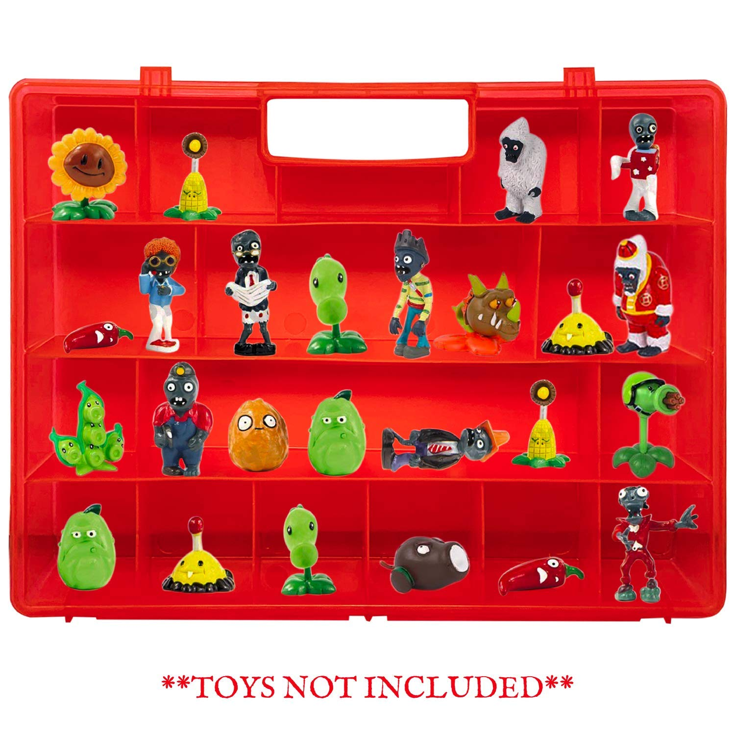 Well-Made Red Toy Holder by Life Made Easy to Carry Case for Mini Toy Figures and Accessories Light Weight Life Made Better Compatible with Plants vs Zombies