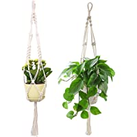 Macrame Plant Hanger, 39 Inch Handmade Cotton Plant Hangers for Round & Square Pots, 2 Pack (Pot Not Included)