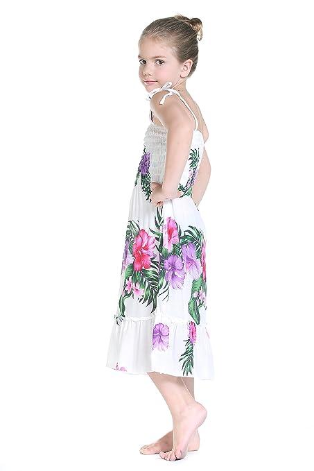 Niña Elástica volantes vestido de fiesta Luau hawaiano en color blanco: Amazon.es: Ropa y accesorios
