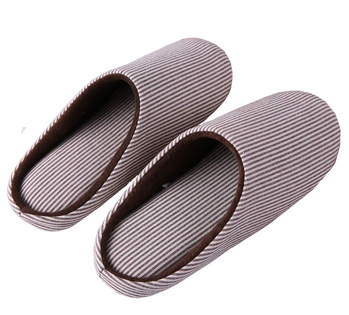 HaoJiLi Men's House Slippers Indoor Memory Foam Cotton Anti-Slip Ultra Lightweight (L=Women 9-10 B(M) / Men 8-9 D(M), Brown/White)