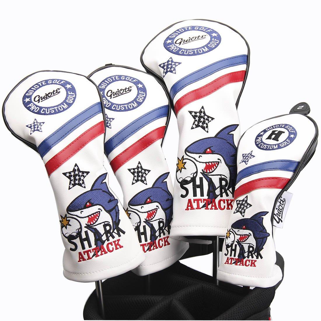 Guiote ゴルフヘッドカバー Golf head covers クラブヘッドカバー ウッドカバー ドライバー 新デザイン 交換可能な番号タグ付き(#2.#3.#4.#5.X) 4個セット B076NYD73P SHARK-White SHARK-White