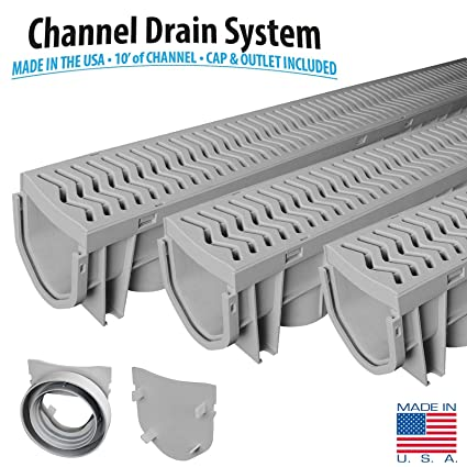 Source 1 Drainage 3 Pack Trench U0026 Driveway Channel Drain System With Grates