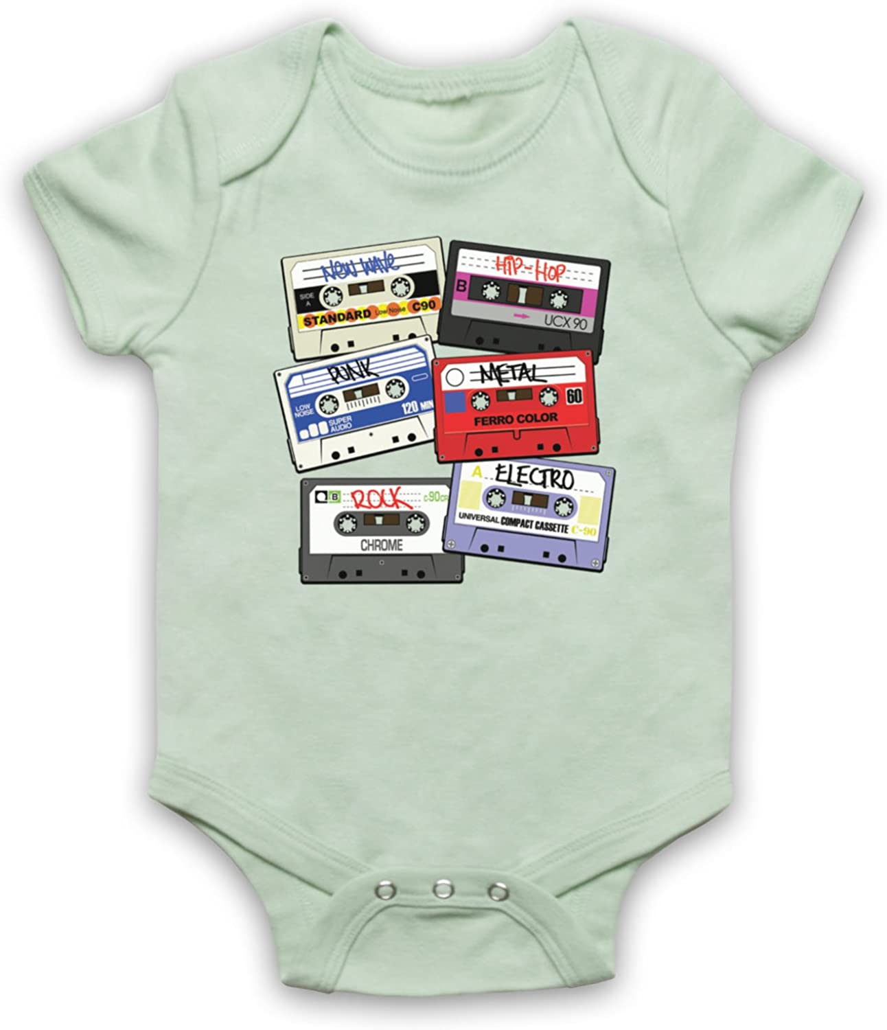 My Icon Unisex-Babys Cassette Tapes Retro Mix Tape Baby Grow