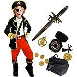 Tacobear Disfraz Pirata Niño con Pirata Accesorios Pirata Sombrero Parche Daga brújula Monedero Pendiente Oro Medasie Pirata Disfraz de Halloween Niños (M 4-6 años)