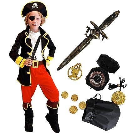 Tacobear Disfraz Pirata Niño con Pirata Accesorios Pirata Sombrero Parche Daga brújula Monedero Pendiente Oro Medasie Pirata Disfraz de Halloween ...