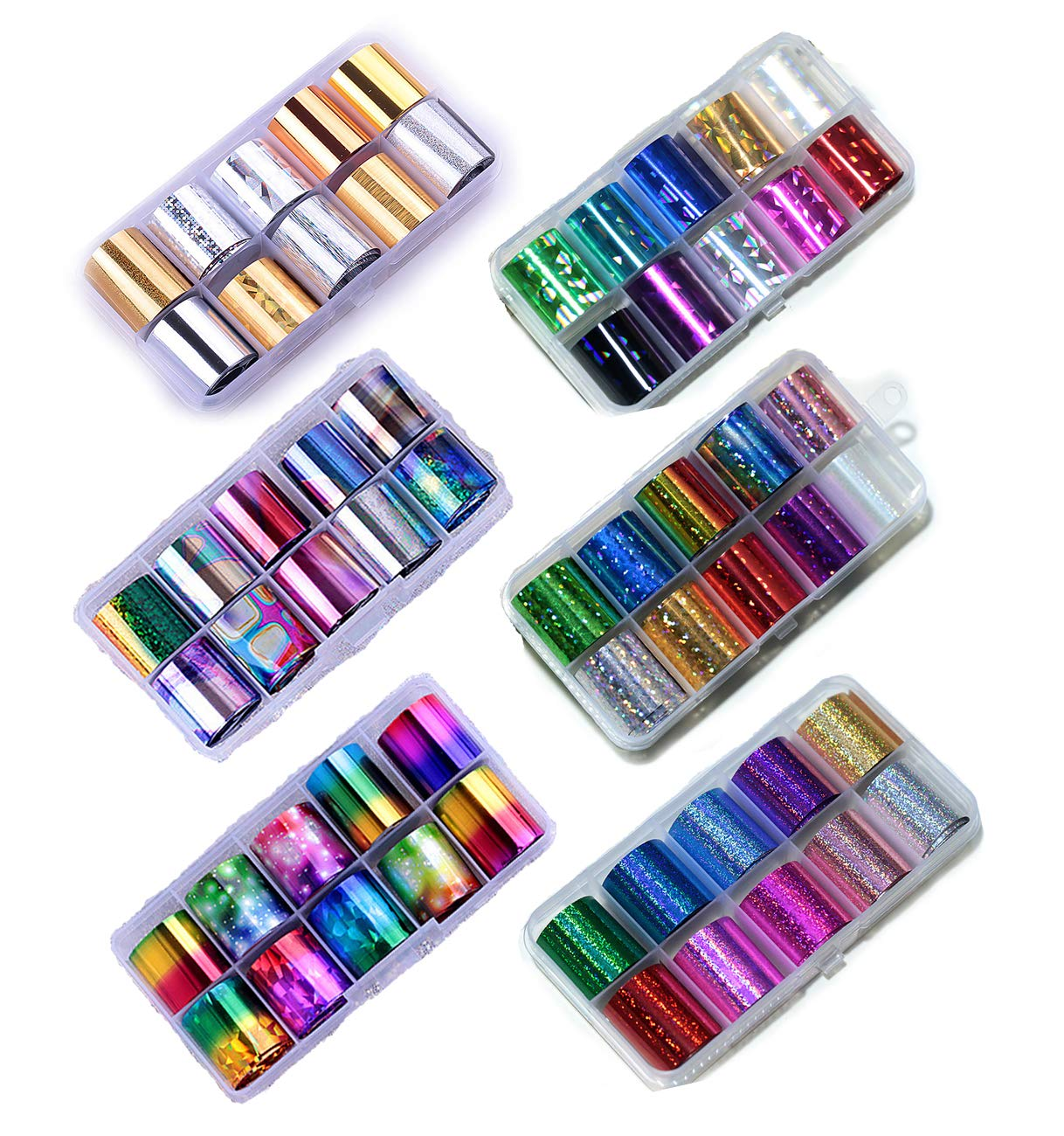 60 Rolls Nail Art Transfer Foil Wraps Decals - DIY Decoration, Acrylic Holographic Solid Color by HugeHug