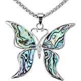 Angel Jewelry Women's Abalone Shell Butterfly Necklace Pendant