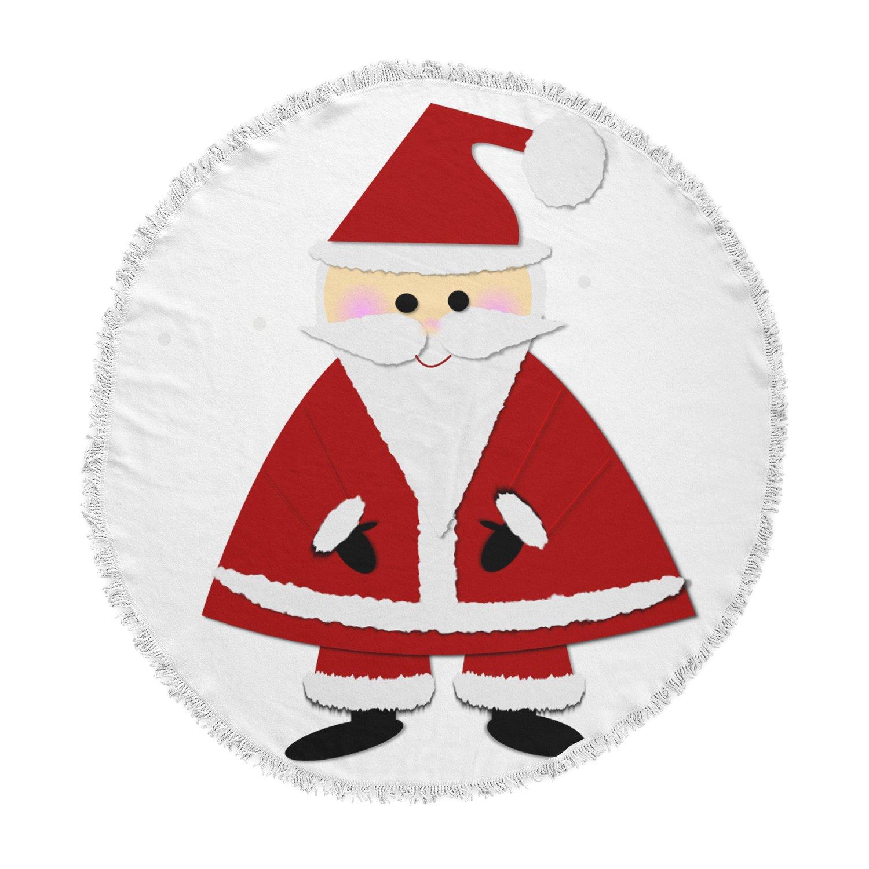 KESS InHouse Bruxamagica Santa Claus White Red Kids Holiday Illustration Round Beach Towel Blanket