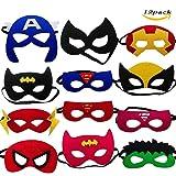 LMYTech 12 Pezzi Superhero Mask Maschere Per Bambini/Corda Elastica/Per Bambini in Occasione di Feste di Compleanno, Recite, Carnevale, Giochi di Ruolo, Giochi Con Supereroi