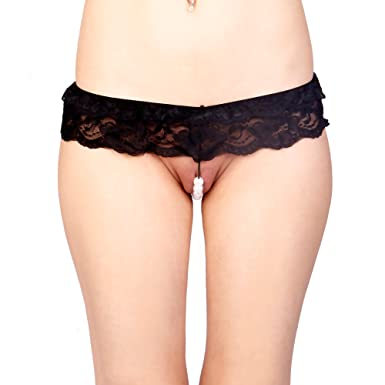 492a33128f2 Vixson Lace Hipster String with Beads-Black-Underwear Lingerie for Women  Thong