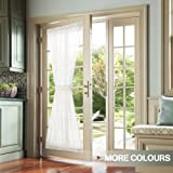 Sheer Curtain Panel Linen Textured for French Door, W52 x L72 -inch, White, Matching Tieback Included