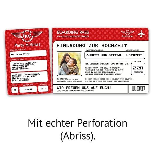Einladungskarten Zur Hochzeit (30 Stück) Flugticket Mit Foto Einladung In  Blau: Amazon.de: Bürobedarf U0026 Schreibwaren