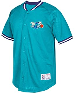 Charlotte Hornets Mitchell & Ness NBA Seasoned Pro Mens Button Up Jersey Shirt