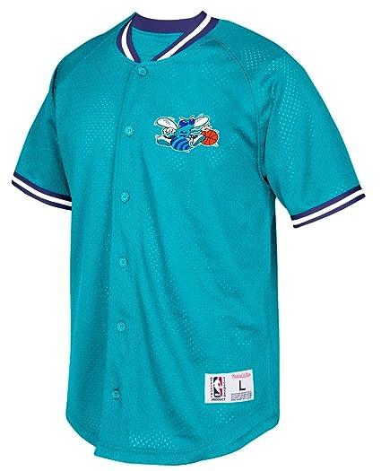 best sneakers e0908 76187 Mitchell & Ness Charlotte Hornets NBA Seasoned Pro Men's Button Up Jersey  Shirt