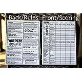 YARDZEE SCORE CARD with Rules on the back- Laminated Yardzee Score Card