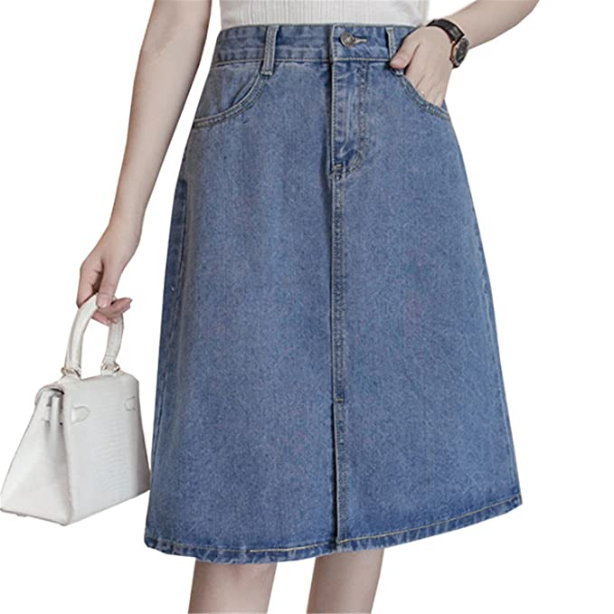 ab5b8dda927 5XL Plus Size Denim Skirts Womens Summer High Waist Jeans Skirt Women  Clothing Preppy Casual A Line Skirt Knee Length at Amazon Women s Clothing  store