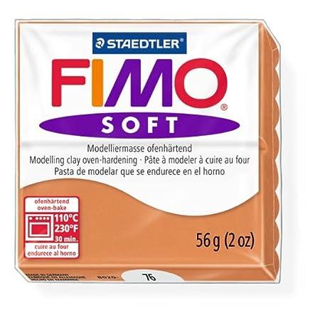 Staedtler Fimo Soft Cognac 76 Oven Bake Modelling Clay Moulding Block 56g