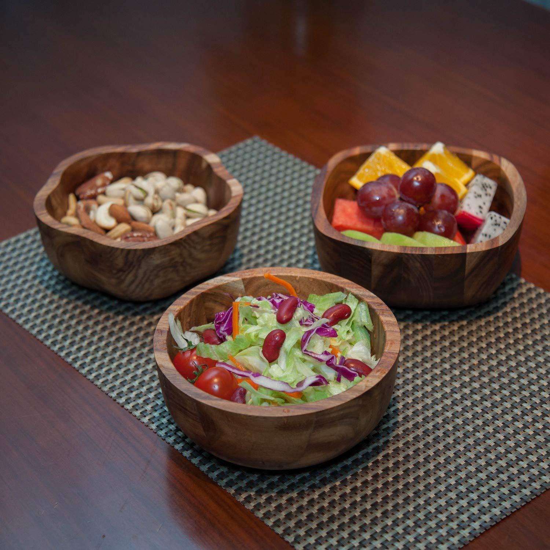 Small Acacia Wooden Salad Bowls Acacia Wood Salad Serving Bowl Set Matte Set of 3 Bowls for Fruit Pasta Cereal Food 6 Diameter x 2-1//4 Height